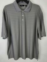 Walter Hagen Essentials Mens Gray Striped Short Sleeve Polo Collar Shirt Size XL