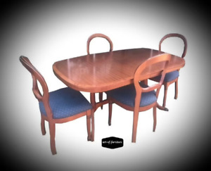5 Piece Dining Kitchen Set of Rustic Mahogany Dining Table & 4 matching Chairs