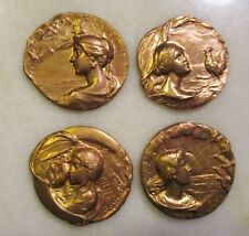 Armand Bargas 4 Pc. Set Of Art Nouveau Brass Cameos; Early 20th Century French