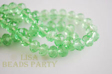 100pcs 4x6mm Faceted Rondelle Crystal Glass Loose Spacer Bead Lt Green Craft