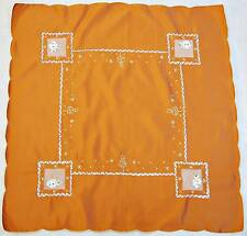 """VINTAGE CHRISTMAS SNOWMAN APPLICATION EMBROIDERY BRICK LAME GOLD 33"""" TABLECLOTH"""