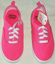FADED GLORY BRIGHT HOT PINK CANVAS LACE UP GIRL CASUAL SHOE SIZE 4 NEW