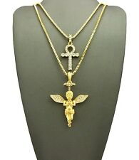 NEW ICED OUT ANKH & ANGEL PENDANT WITH BOX CHAIN SET
