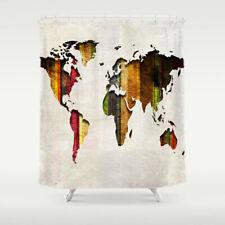 World Map Shower Curtain Stripes on Fabric Bathroom