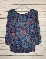 Lucky Brand Women's M Medium Navy Blue Red 3/4 Sleeves Spring Top Blouse Shirt
