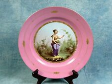 Antique 1820 French Hand Painted Pink Sevres Porcelain Girl Cabinet Plate