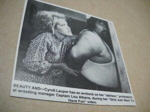 CYNDI LAUPER puts a move on Captain Lou Albano 1983 music biz promo pic/text