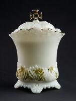 Westmoreland Maltese Cross Mustard Preserves Jar w Lid, Antique EAPG Milk Glass