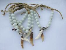 Tibetan Real Wolf Tooth Teeth White Glass Beads Braided Bracelet For Mens Womens