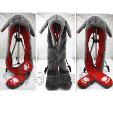 Bunny Fur Animal 3 IN 1 Function Warm Hood Hoodie Soft Fluffy Hat Scarf Pocket