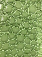 Vinyl fabric Green Shiny Faux Crocodile Embossed 3D Scales-Faux Leather- 1 Yard