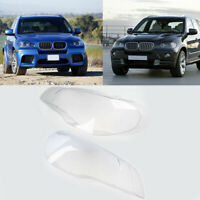 1 Pair Fit for BMW X5 E70 Headlight Cover Headlamp Lens Plastic Replacement New