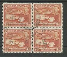 BRITISH GUIANA SG319 THE 1945 GVI $3 RED-BROWN IN  A FINE USED BL OF 4 C£128+