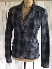 Sisley Blue & Purple Checked Fitted Jacket With Pockets Uk10
