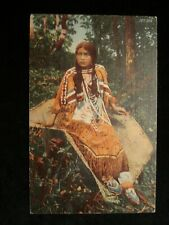 Native American Indian Girl Beaded Dress & Shoes Vintage Curteich Linen PC