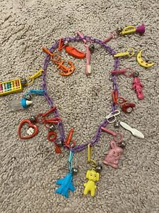 RETRO 1980's Plastic Bell Clip CHARM NECKLACE Vintage 80's Party!! 15 Charms