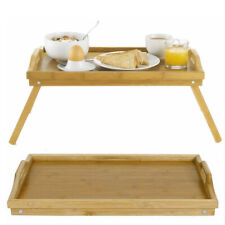 Bamboo Wooden Bed Tray With Folding Leg Serving Breakfast Lap Tray Table Mate A.
