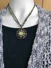 Vintage 1928 Green Rhinestone Enamel Flower Pendant Necklace Pearl Beaded Chain