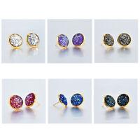 Hot fashion Boho jewelry Rose Gold False druzy Stud Earrings for Women Size 12mm