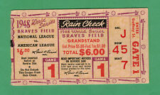 1948 WORLD SERIES GAME 1 TICKET STUB CLEVELAND INDIANS VS. BOSTON BRAVES