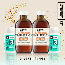 Synergy Kit: 2 MONTH SUPPLY: 2x Turmeric Probiotic + 2x Vegan Omega 3: SAVE 30%!