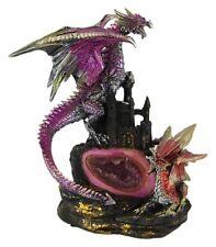 Metallic Gothic Double Dragon Geode Statue Figure Evil
