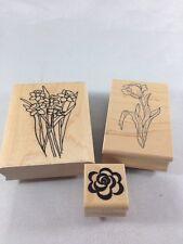 Flower Rubber Stamp Collection Set of 3 Flower Design Stamps