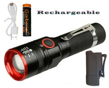 XML-T6 USB Rechargeable Flashlight-Holster-Battery-Charging Cord
