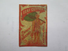LEAF CUTTER SAFETY MATCHES MATCH BOX LABEL c1900s NORMAL SIZE MADE in AUSTRIA