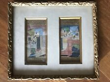 Antique Indian Watercolor and Gilt Paintings in Gilt Frame