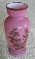 """Bristol Glass Late 19th Century Pink Glass 10.5"""" Vase with Floral Botanicals"""
