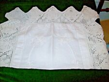 Antique White Linen Cloth  with Hand Crochet Lace & Hand Embroidered White work