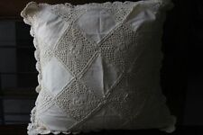 """Linen Lace Cushion Cover Handmade in size 22"""" x 22"""" in beige color"""