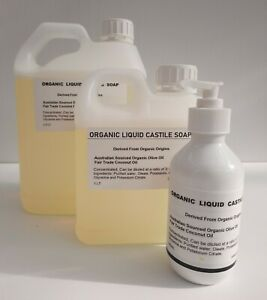 Liquid Castile Soap Organic ~ Concentrate makes 3 X~ Pure & Hand Made Palm Free
