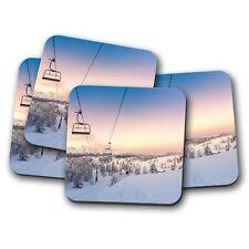 4 Set-SEGGIOVIA Bevande Sottobicchieri-Sci Snowboard Neve Montagna Freddo Regalo #8420