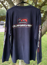 VTG Quiksilver Boarding Co Tee Mens L T-Shirt L/S Spell Out Sleeve Logo Surf