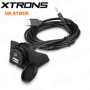 Car Dashboard Flush Mount USB + 3.5mm AUX Socket Extension Lead Panel Cable 2m