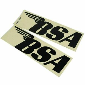 BSA Stickers Decal Black 127mm x 40mm A65 A10 B44 B25 A75 BSA x 2 Units ECs