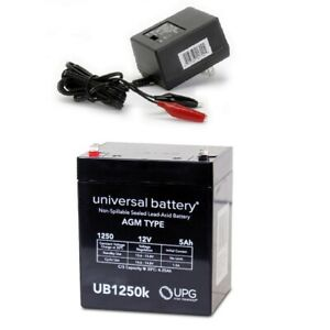 NEW UPG UB1250 12V 5AH Replacement Battery Securitron TSB3 & Charger