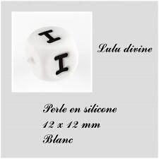 Perle en silicone alphabétique de 12 x 12 mm, Blanc : Lettre I Lot de 10 perles