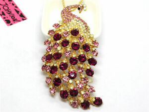 Hot Betsey Johnson Pink Crystal Ornate Peacock Animal Pendant  Necklace