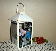 METAL & STAINED GLASS DESIGNED PRIMITIVE CANDLE INDOOR OUTDOOR LANTERN LAMP