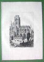 ORIGINAL ETCHING Print - ROUEN France Overall View of Saint Ouen Cathedral