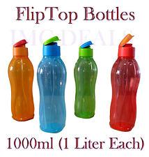 TUPPERWARE Fliptop Water Bottle Liquid Tight Mix Colours, 1000ml, 1 Litre, 1ltr