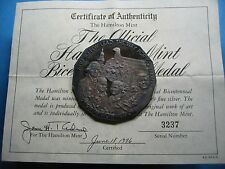 2.5 OZ WASHINGTON FRANKLIN KENNEDY 1976 BICENTENNIAL 999 SILVER COIN MEDAL COA#B