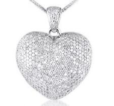 1.85ct Brilliant Cut Diamond and Solid 9ct White Gold Heart Pendant, with Chain