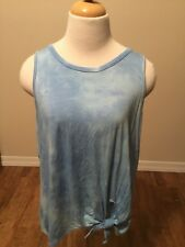 Caution To The Wind Juniors Blue Tie Dye Tie Front Tanktop Size 1X