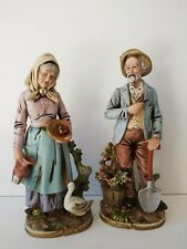 """Vintage Homco 14"""" Old Man & Woman Figures Large Farmers Couple Statues #8816"""