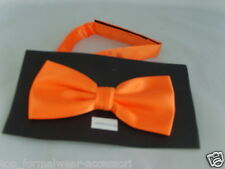 Neon Shiny Orange Polyester Mens Ready Pre-tied Bow tie > 60 Colours Available