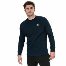 Men's adidas Originals Trefoil Essentials Slim Fit Crew Neck Sweatshirt in Blue